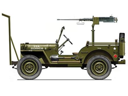 Willys Jeep s strojnico